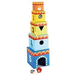 Classic World Stacking Castle Cubes, Multi Color