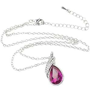 niceeshop(TM) Angel Teardrop Drop Pendant Jewelry Beautiful Austria Crystal Necklace Short Clavicle Necklace-Roseo