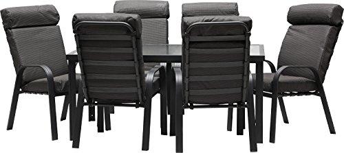 IB-Style-MADEIRA-Alu-Gartenmbel-13-Teilig-6-Stapelsthle-inkl-starke-Sitzpolster-Gartentisch-Aluminium-Sicherheitsglas-Komfortabele-Gartengruppe-Gartengarnitur-Sitzgruppe-Gartenmbel-Set