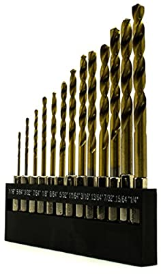 "Bastex, 13pc 1/4"" Hex Shank Titanium Coated Piolot Drill Bit Set, Quick Change. Twist Bit size range 1/16"" to 1/4"" for home,office, small project standard use. with hard plastic holder."