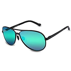 VEITHDIA 2287 Large Horn Rimmed UV400 Adjustable Polarized Aviator Sunglasses (green)