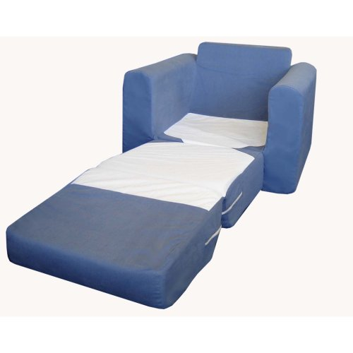 Fun Furnishings Chair Sleeper, Blue Micro Suede