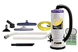 ProTeam Backpack Vacuums, Super QuarterVac HEPA Commercial Backpack Vacuum Cleaner with Versatile Tool Kit & 2 Piece Wand, 6 Quart - Corded
