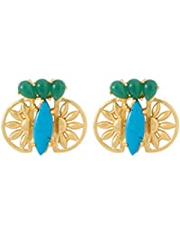 Voylla Attractive Green And Turquoise Stone Embellished Pair Of Danglers