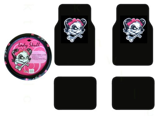 A Set of 4 Universal Fit Plush Carpet Lady Skull with Bow Floor Mats and 1 Comfort Grip Steering Wheel Cover