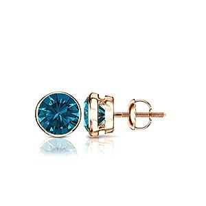 14k Rose Gold Round Blue Diamond Bezel-set Stud Earrings (3/4 ct, Blue, I1-I2)