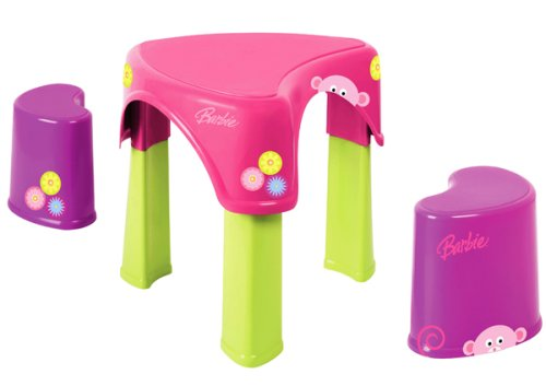 Children's Furniture: Barbie Creative Play Table with 2 Chairs