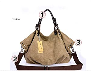 Large Canvas Leather Casual Shopper Travel Laptop Tote Hobo Satchel Handbag
