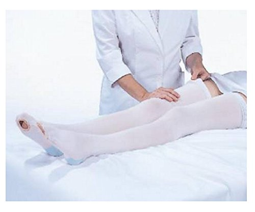 CAP Anti-Embolism Knee-Length Stockings, Full Foot with Inspection Toe, White, Large Short (Full Length Compression Stockings compare prices)