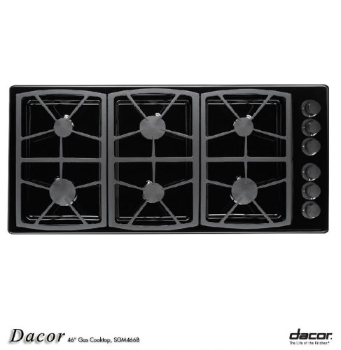 Dacor Preference Series 46 inch Black Gas Cooktop - SGM466B