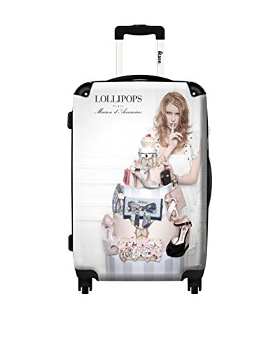 Ikase Lollipops White Rolling Luggage, Multi, 10X16X24