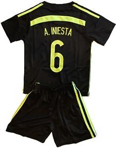 Buy 2014 Andres Iniesta 6 Spain Away Football Soccer Kids Jersey & Short FREE SPAIN GIFT by Spain