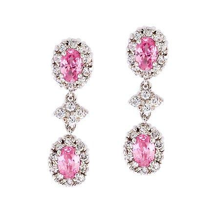Oval Drop C.Z. Pink Sapphire Diamond Sterling Silver Earrings