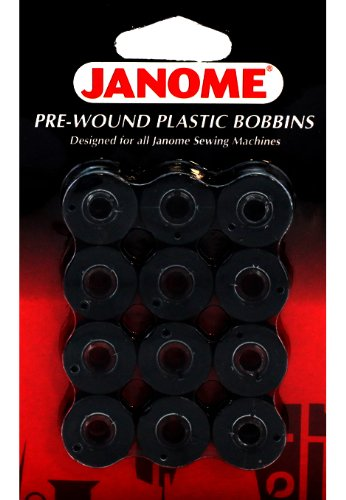 Janome 12 Pack Pre-Wound Plastic Bobbins Black Thread (Thread Janome compare prices)
