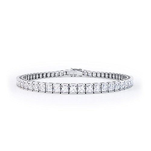 Jian London White Gold Cubic Zirconia Princess Diamond Silver Tennis Bracelet