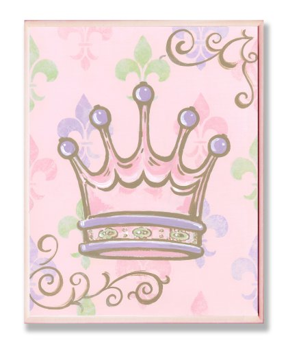 The Kids Room by Stupell Crown with Fleur de Lis on Pink Background Rectangle Wall Plaque