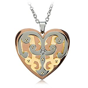 Women's Tri-color Heart Necklace in Stainless Steel