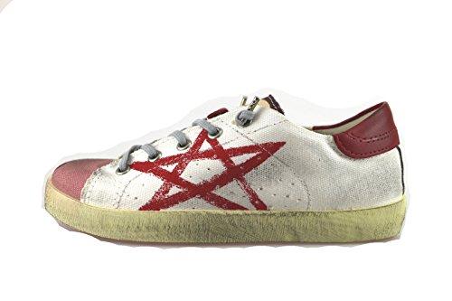 ISHIKAWA sneakers bambina bianco rosso rosa tela AH959 (33 EU)