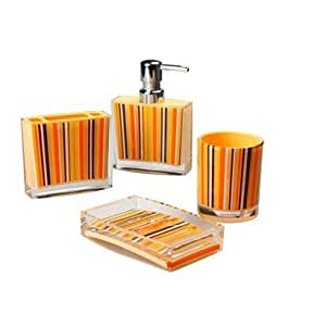 Bathroom Accessory Sets 4 Pieces Orange Bathroom Set Acryl Continental Wash