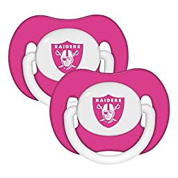 NFL Football 2014 Baby Infant Girls Pink Pacifier 2-Pack - Pick Team (Oakland Raiders - Pink)
