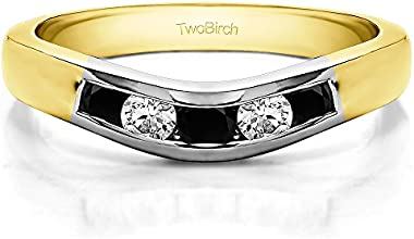 14k Gold Classic Style Curved Wedding Ring Guard with Black And White Diamonds 042 ct twt