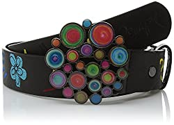 Desigual Women's Dark Belt with Colorful Galactic-Style Buckle, Negro, 90