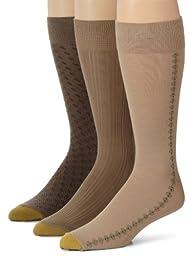 Gold Toe 3 Pack Mens Extended Size Fashion Socks, Dust/Winter Khaki/Taupe, 13-15