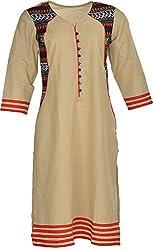 Artisan Women's Cotton Straight Kurta (CZF10022_L, Light Brown, L)