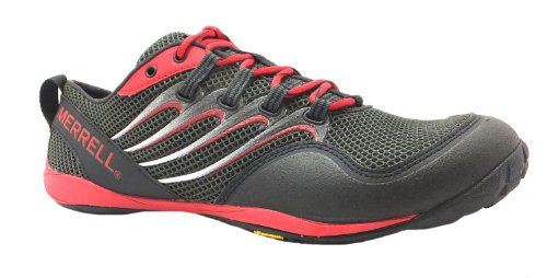 Men's Trail Glove Merrell Lace Up Black/red Vibram Sole Running Shoes