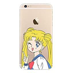 New Cute Cartoon Pattern Clear TPU Soft Case Cover for Iphone 6 Sailor Moon