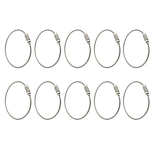 toogoo-r-10-x-llavero-anillo-acero-inoxidable-cable-de-bloqueo-accesorios-al-aire-libre