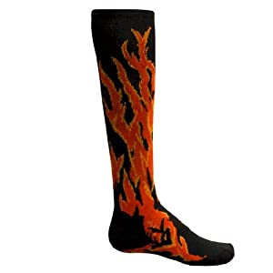 HOT!! Flame Patterned Athletic Socks (Small, Black)