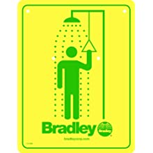 Bradley 114-050 Drench Safety Shower Sign, Yellow