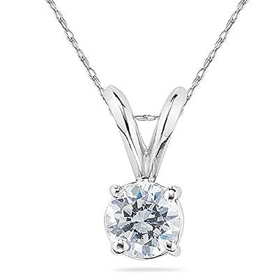 1/3 Carat Round Diamond Solitaire Pendant in 14K White Gold
