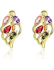 YELLOW CHIMES Designer Wings Swiss Cubic Zirconia Gold Plated Clip-On Earrings For Women
