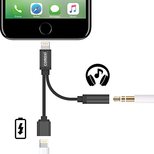 2 in 1 Lightning Adapter for iPhone 7 / 7 Plus, Comoxi Lightning Charger and 3.5mm Earphone Stereo Jack Cable Adapter [No Music Control] for iPhone 7/7 Plus/6s/6/5s/5 - Black (No 1 Phone compare prices)