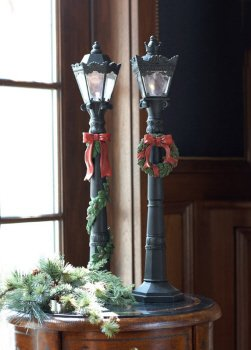 Set of 2 Victorian Inspirations LED Lighted Black Christmas Lamp Posts 24