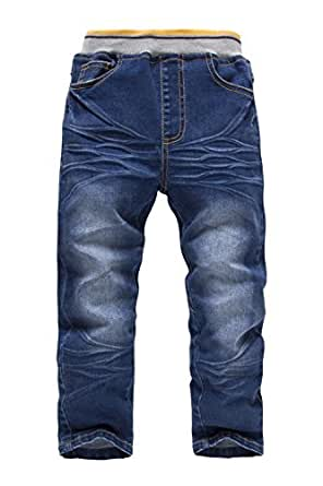 Boys Slim Fit Elastic Waist Pull on Jeans Stretch Jeans 1437: Clothing