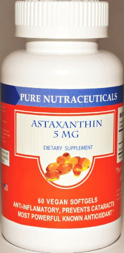 #1 Pure Nutraceuticals Astaxanthin 5 Mg - 60 Softgels Plus Free Vitamin D 3 Plus Free Shipping !!