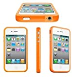 Demarkt New Silicone Stylish Bumper Case Cover With Metal Buttons Fits For Apple iPhone 4 4S 4G-Orange