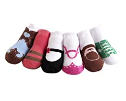 JazzyToes Baby 6 Pair Socks Original Variety - Girls, 0-12 Months