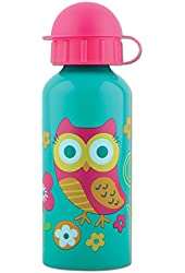 Stephen Joseph Owl Stainless Steel Water Bottle, Teal/Pink