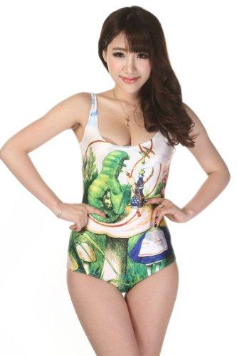 iecool Women's Digital Printed Fairy Pattern One-Piece Swimsuit