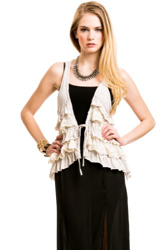 Indie Lace Ruffle Vest In Chalk