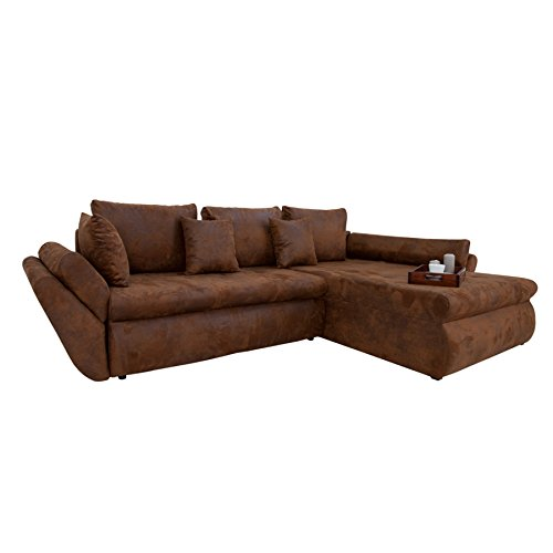 Design-Ecksofa-RODEO-coffee-used-look-mit-Schlaffunktion-Sofa-Eckcouch-Couch