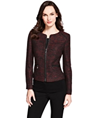 M&S Collection Faux Leather Trim Tweed Jacket