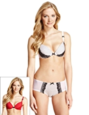 2 Pack Limited Collection Smoothing Spotted & Embroidered Padded Plunge A-DD Bras