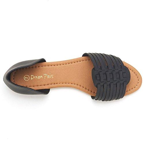 DREAM PAIRS RITAA Women's Gladiator Easy Slip On Open Narrow Toe Flat Summer Sandals BLACK SIZE 10