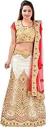 Panchi Women's Beige Net Lehenga (P-Mohini-10003)