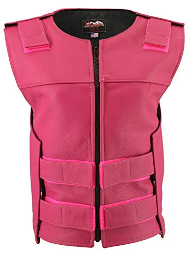 Hillside USA Womens Made in USA Zippered Bullet Proof Tactical Style Leather Motorcycle Vest All Colors One Size fits from 6-18 Hot Pink